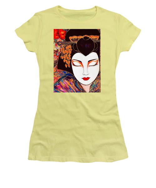 Women's T-Shirt (Junior Cut) featuring the painting Geisha by Rae Chichilnitsky