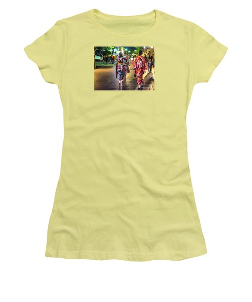 Women's T-Shirt (Junior Cut) featuring the photograph Geishas In A Rush by Pravine Chester