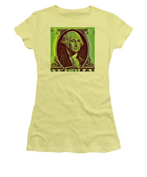 Women's T-Shirt (Junior Cut) featuring the digital art George Washington - $1 Bill by Jean luc Comperat