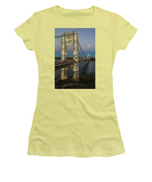 Women's T-Shirt (Athletic Fit) featuring the photograph George Washington Bridge Moon Rising by Susan Candelario