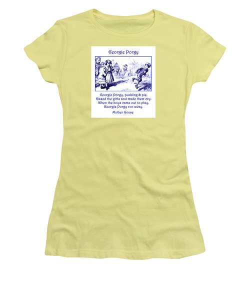 Women's T-Shirt (Athletic Fit) featuring the painting Georgie Porgy Mother Goose Illustrated Nursery Rhyme by Marian Cates