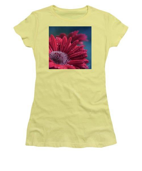 Women's T-Shirt (Athletic Fit) featuring the photograph Gerbera Red Jewel by Sharon Mau