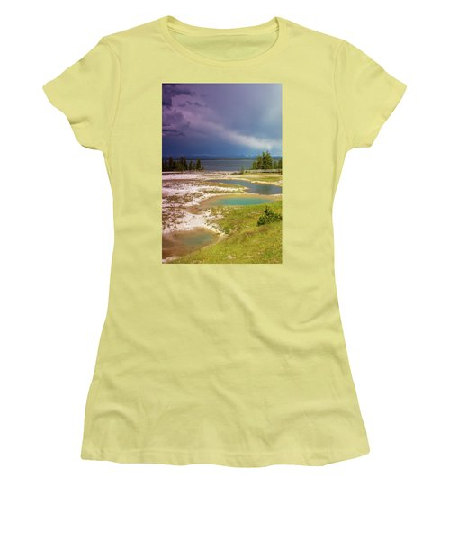 Women's T-Shirt (Junior Cut) featuring the photograph Geysers Pools by Dawn Romine