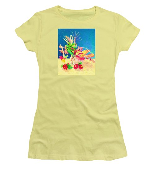 Women's T-Shirt (Junior Cut) featuring the digital art Gifts From The Yard Watercolor by Christina Lihani