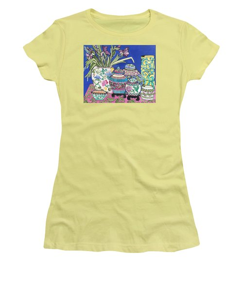 Ginger Jars Women's T-Shirt (Junior Cut) by Rosemary Aubut