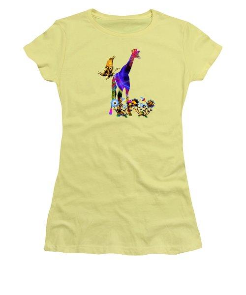 Giraffe And Flowers Women's T-Shirt (Junior Cut) by EricaMaxine  Price