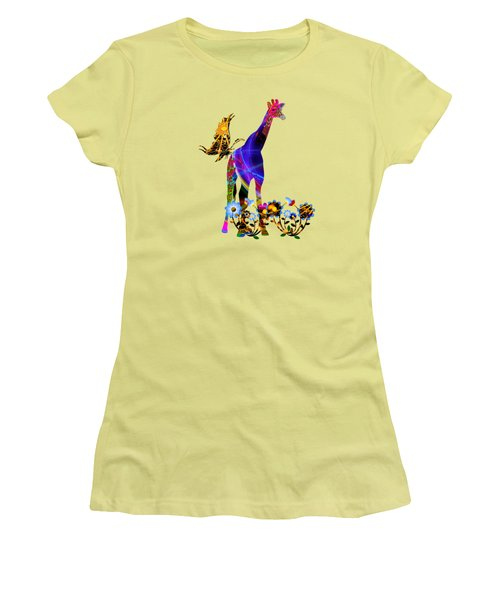 Giraffe And Flowers Women's T-Shirt (Athletic Fit)