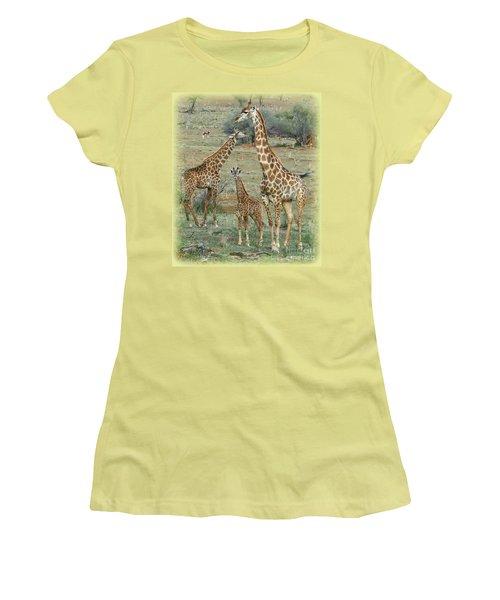 Women's T-Shirt (Junior Cut) featuring the photograph Giraffe Family by Myrna Bradshaw