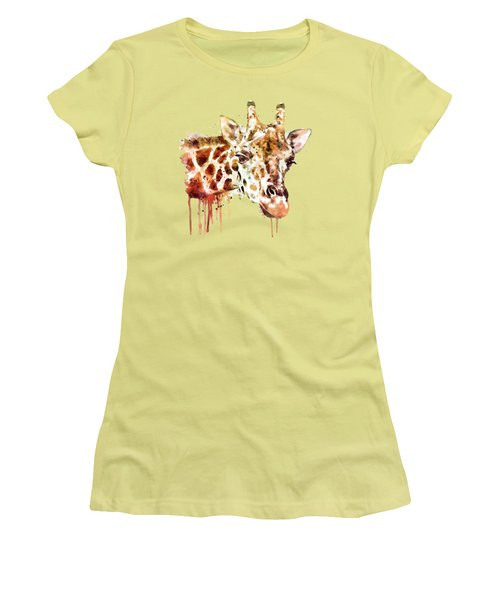 Giraffe Head Women's T-Shirt (Junior Cut) by Marian Voicu