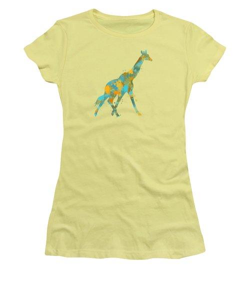 Giraffe Watercolor Art Women's T-Shirt (Junior Cut) by Christina Rollo