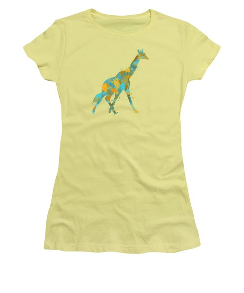 Giraffe Watercolor Art Women's T-Shirt (Junior Cut)