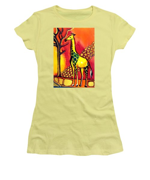 Women's T-Shirt (Junior Cut) featuring the painting Giraffe With Fire  by Dora Hathazi Mendes