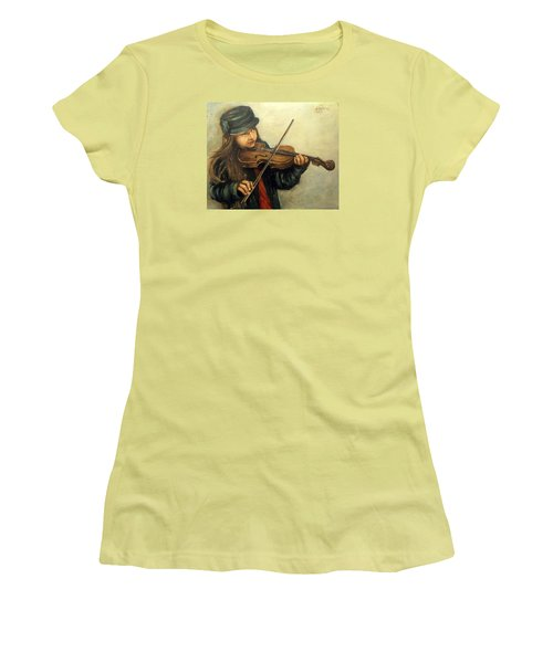 Girl And Her Violin Women's T-Shirt (Junior Cut) by Natalia Tejera