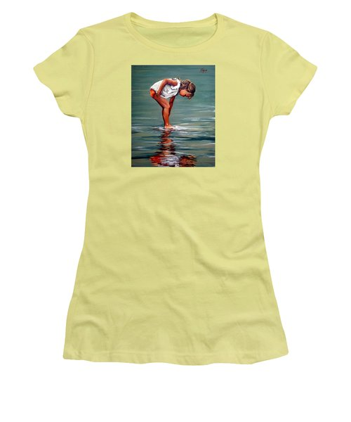Girl At Shore  Women's T-Shirt (Athletic Fit)