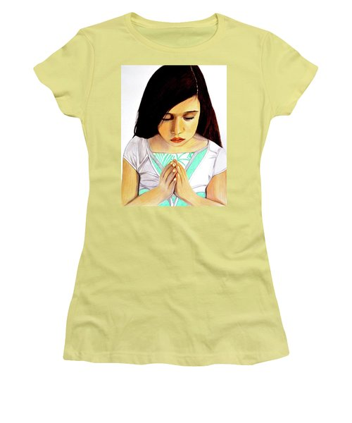 Girl Praying Drawing Portrait By Saribelle Women's T-Shirt (Junior Cut) by Saribelle Rodriguez