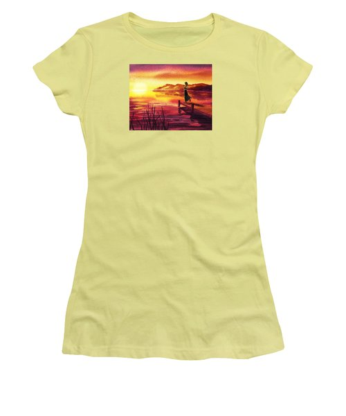 Women's T-Shirt (Athletic Fit) featuring the painting Girl Watching Sunset At The Lake by Irina Sztukowski