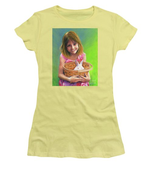 Girl With A Bunny Women's T-Shirt (Junior Cut) by Jeanette French
