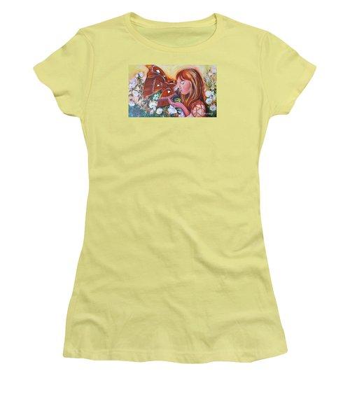 Girl With Butterflies Women's T-Shirt (Junior Cut) by Rita Fetisov