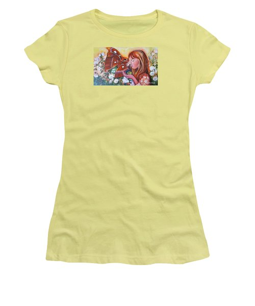 Girl With Butterflies Women's T-Shirt (Athletic Fit)