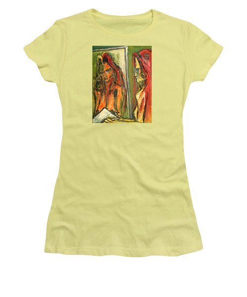 Girl With Eye Glasses--self-analysis Women's T-Shirt (Junior Cut) by Kenneth Agnello