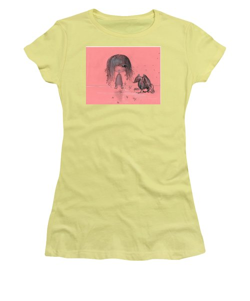 Girl With Griffin  Women's T-Shirt (Athletic Fit)