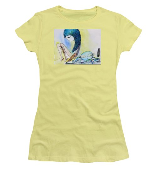 Girl With Octopus  Women's T-Shirt (Athletic Fit)