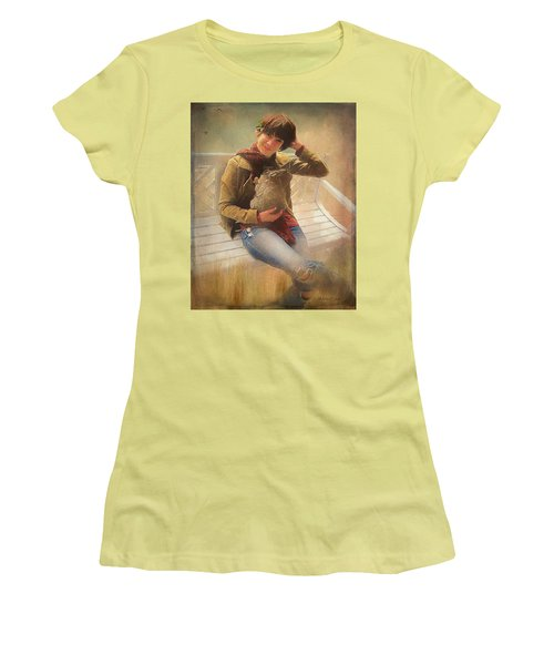 Women's T-Shirt (Athletic Fit) featuring the photograph Girl With Rabbit by Bellesouth Studio