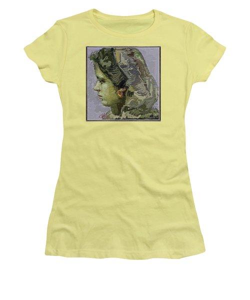 Girl With Yellow Earring Gwye2 Women's T-Shirt (Junior Cut) by Pemaro