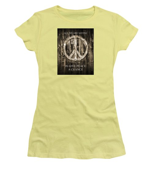 Women's T-Shirt (Junior Cut) featuring the photograph Give Peace A Chance by Betty Denise