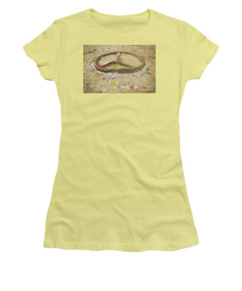 Women's T-Shirt (Junior Cut) featuring the photograph Give Peace A Chance - Sand Art by Colleen Kammerer