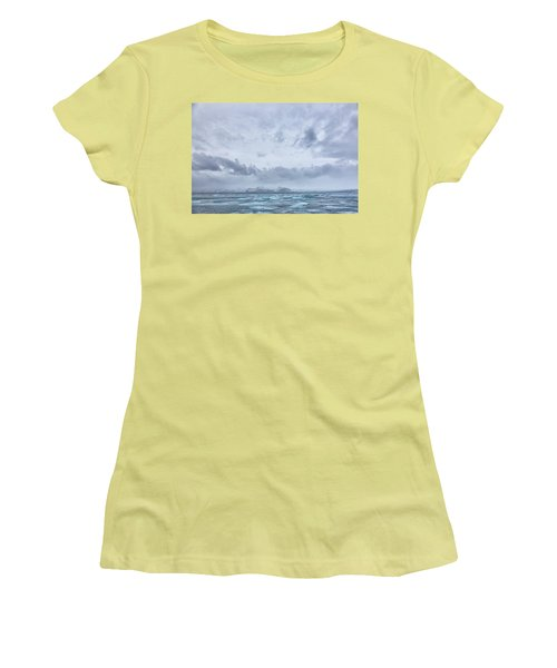 Women's T-Shirt (Junior Cut) featuring the tapestry - textile Glacial Lagoon Iceland by Kathy Adams Clark