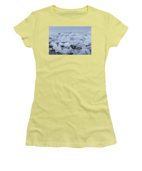 Women's T-Shirt (Junior Cut) featuring the tapestry - textile Glacier Ice by Kathy Adams Clark