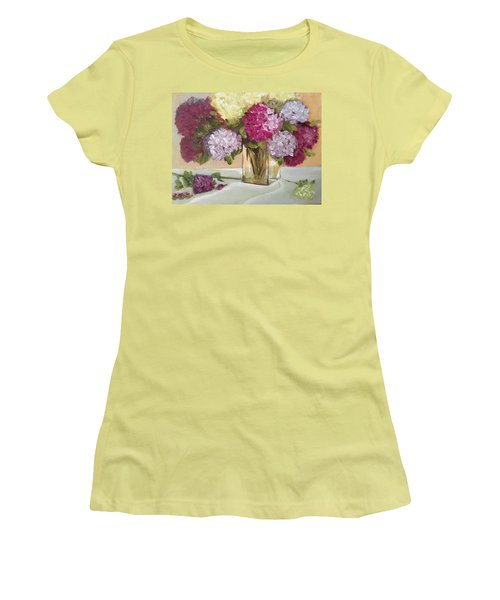 Women's T-Shirt (Junior Cut) featuring the painting Glass Vase by Sharon Schultz