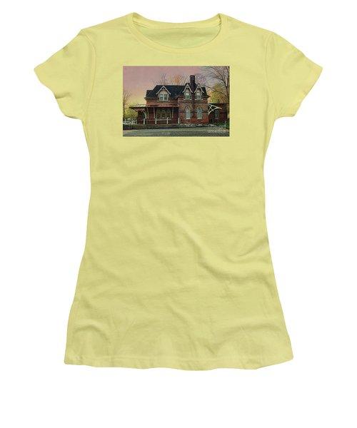 Glen Mill Train Station Women's T-Shirt (Junior Cut) by Judy Wolinsky