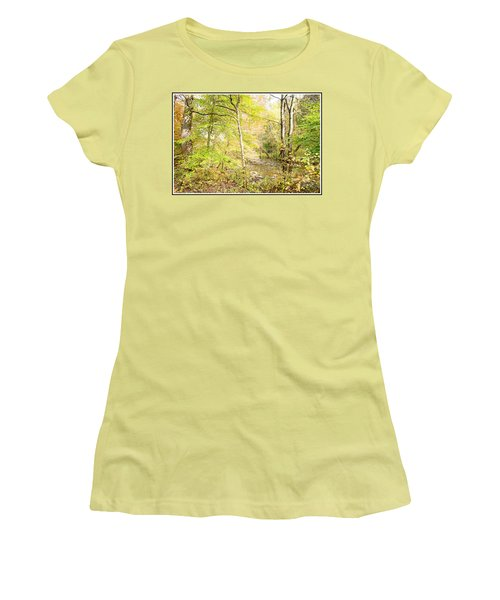 Glimpse Of A Stream In Autumn Women's T-Shirt (Athletic Fit)