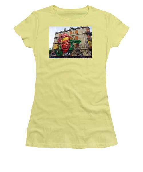 Women's T-Shirt (Junior Cut) featuring the painting Globe Building Art Painting by Sheila Mcdonald