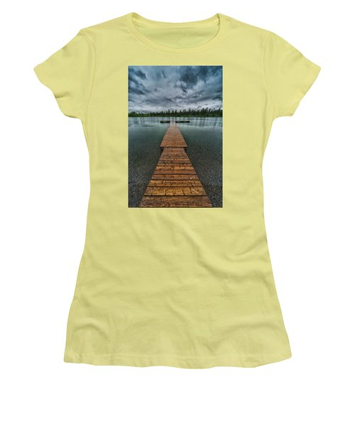 Women's T-Shirt (Junior Cut) featuring the photograph Gloomy Rainy Day On Norbury Lake by Darcy Michaelchuk