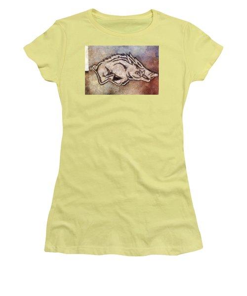 Go Hogs Go  Women's T-Shirt (Junior Cut) by Dawn Bearden
