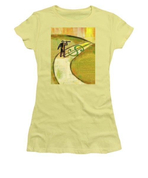 Women's T-Shirt (Junior Cut) featuring the painting Goal by Leon Zernitsky