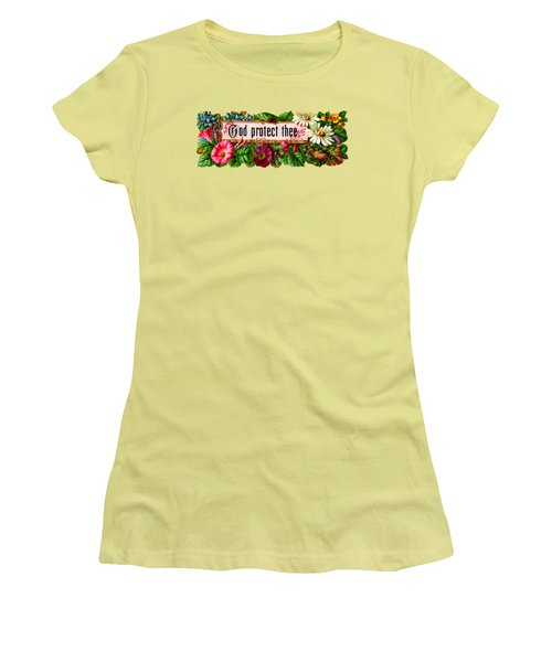 God Protect Thee Vintage Women's T-Shirt (Junior Cut) by R Muirhead Art
