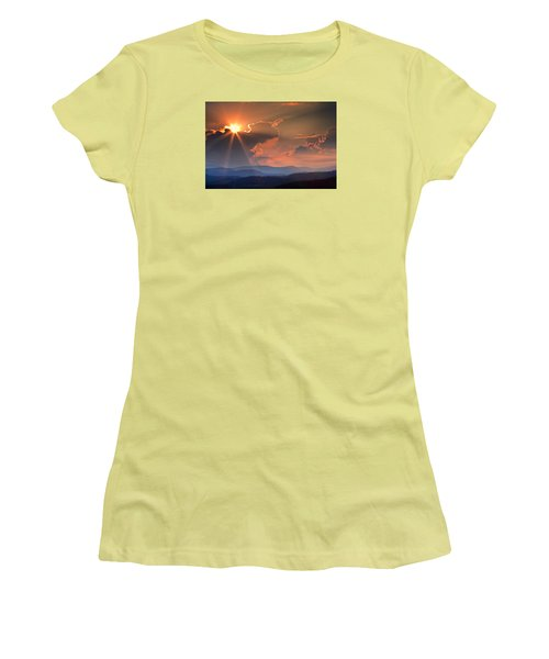 God Rays Over N C  Mountains Women's T-Shirt (Athletic Fit)