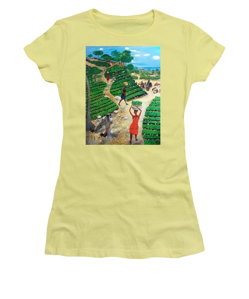 Going To The Marketplace #4 -  Walking Through The Terraces Women's T-Shirt (Junior Cut) by Nicole Jean-Louis