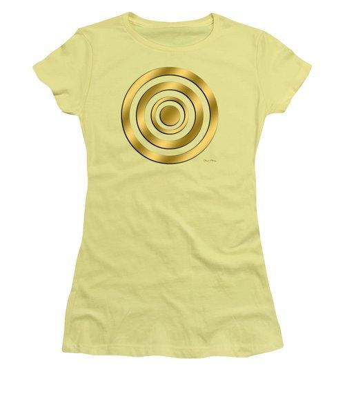 Women's T-Shirt (Junior Cut) featuring the digital art Gold Circles by Chuck Staley