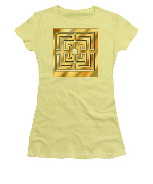 Women's T-Shirt (Junior Cut) featuring the digital art Gold Geo 3 - Chuck Staley by Chuck Staley