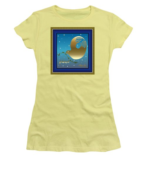 Gold Peace Dove Women's T-Shirt (Athletic Fit)