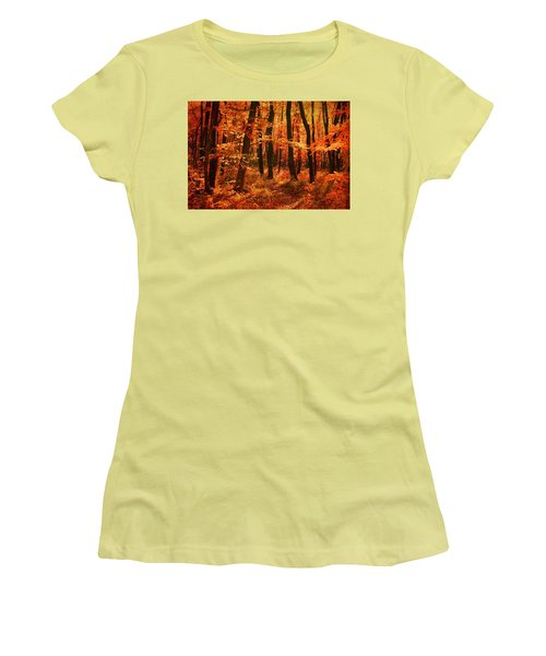 Golden Autumn Forest Women's T-Shirt (Athletic Fit)