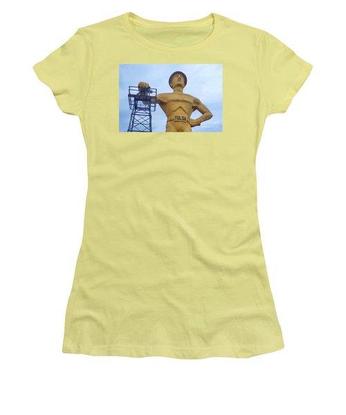 Golden Driller 76 Feet Tall Women's T-Shirt (Junior Cut) by Janette Boyd
