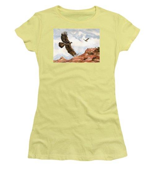 Golden Eagles In Fligh Women's T-Shirt (Junior Cut) by Sam Sidders