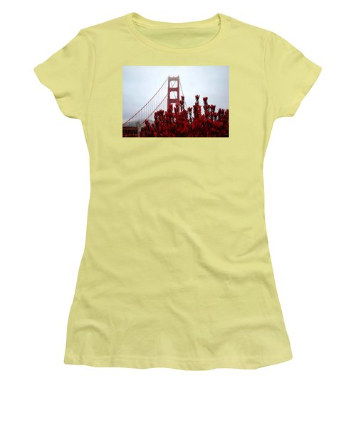 Golden Gate Bridge Red Flowers Women's T-Shirt (Junior Cut)