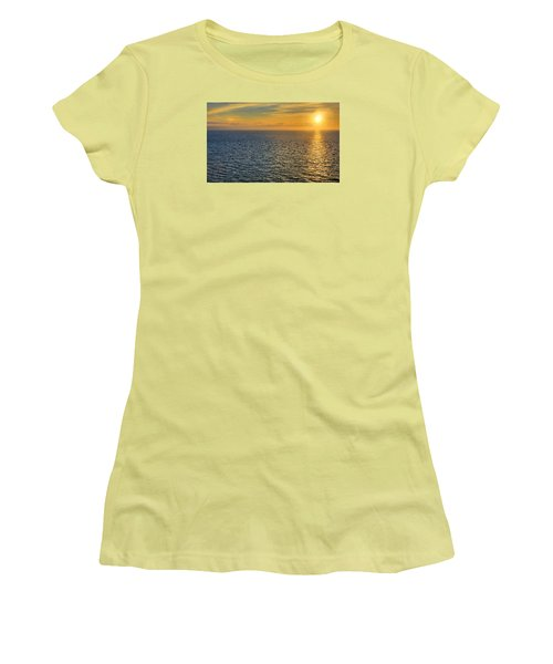 Golden Hour At Sea Women's T-Shirt (Junior Cut) by Lewis Mann